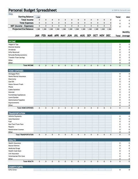 Download the Personal Budget Spreadsheet from Vertex42.com | DIY ...