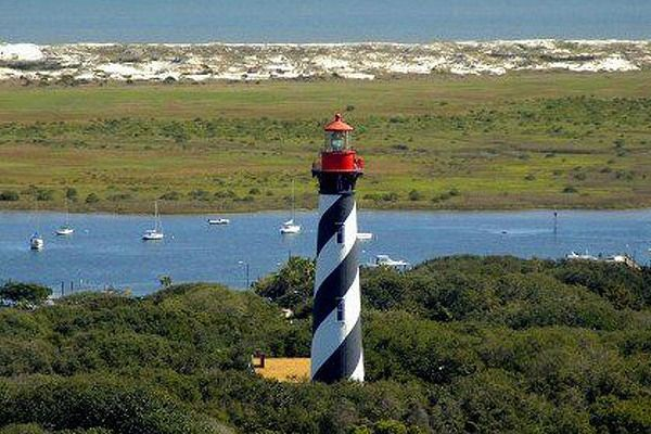 St. Augustine Lighthouse was built in 1874 and is on Anastasia Island between downtown St. Augustine and the Atlantic Ocean.  It is 165 feet above sea level overlooks the Atlantic Ocean, Salt Run, and St. Augustine Inlet.
