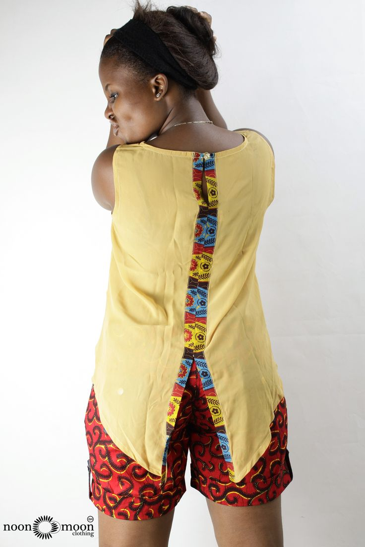 A Nice Chiffon Top Mixed With African Prints And Print