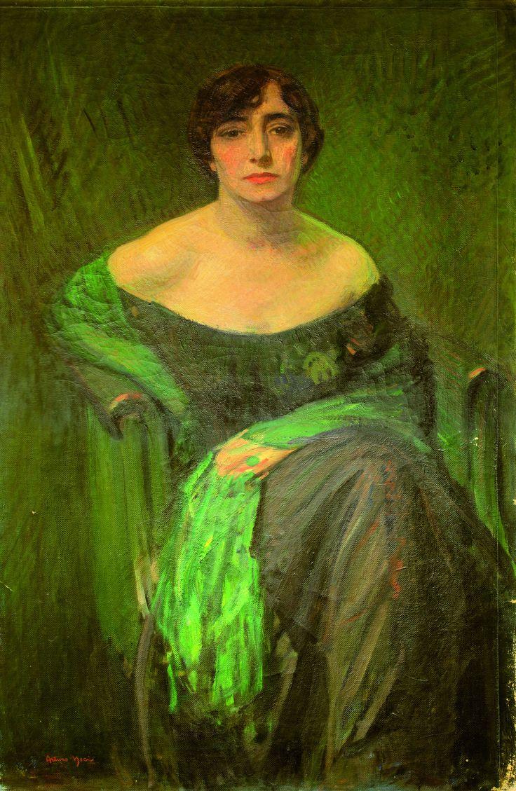 Arturo Noci, Ritratto di signora con scialle verde, 1923