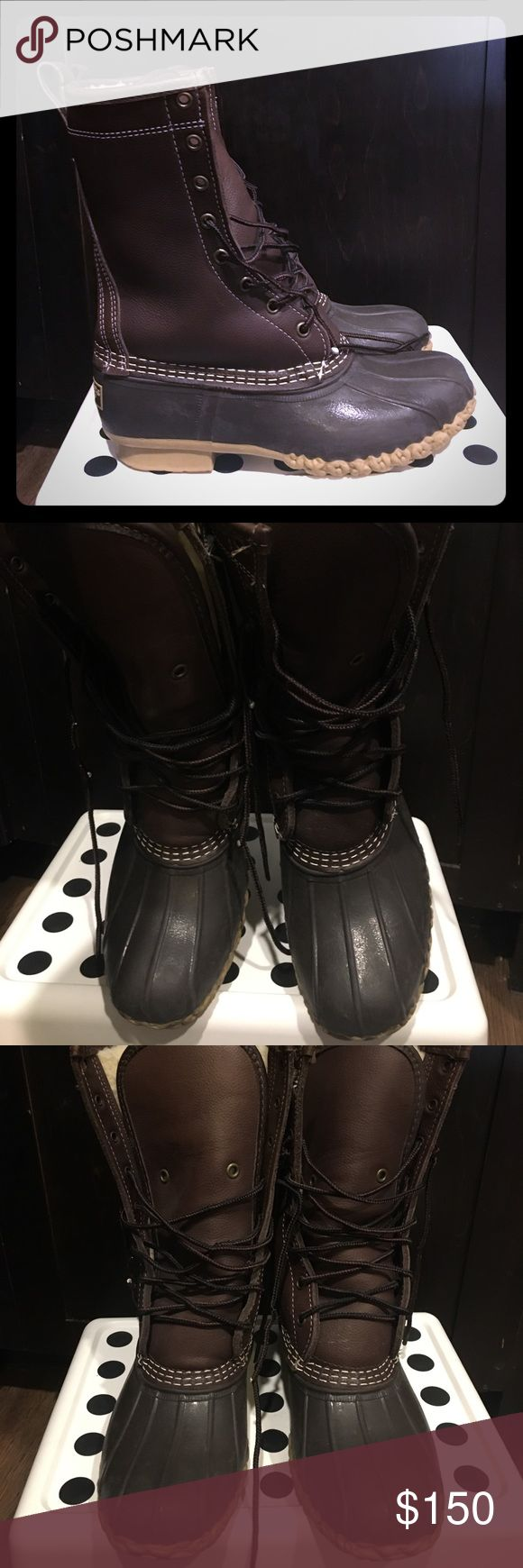"""Barely worn LL Bean boots Women's 10"""" shearling lined boots. Barely worn. Total of 10xs maybe. Great comfy boots that keep the feet warm but no need for them in Texas. May need a new pair of laces but all in all they are in amazing shape! L.L. Bean Shoes Winter & Rain Boots"""
