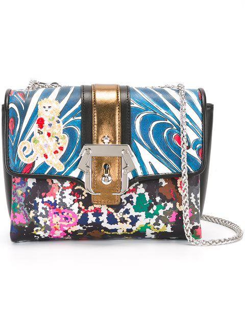 PAULA CADEMARTORI contrast print satchel bag. #paulacademartori #bags #leather #hand bags #satchel #