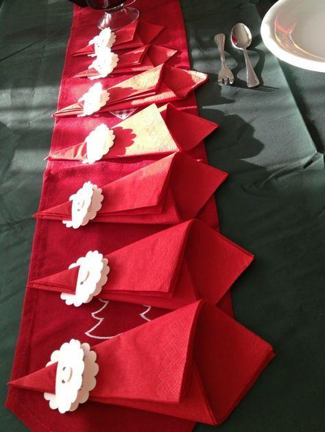 weihnachtliche Tischdeko Ideen rote Servietten falten Nikolaus basteln