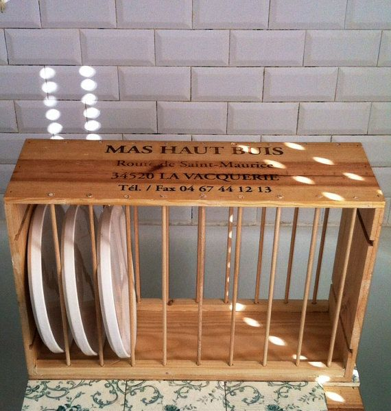 Plate Rack Made From Vintage All Wood Wine Crate With