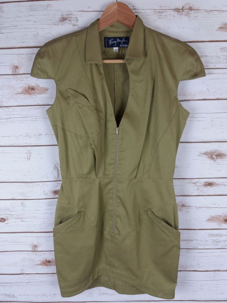Thierry Mugler Activ 40 (4) Bodycon Dress Light Olive Green Zip Front Mini Hi Lo #ThierryMugler #Bodycon