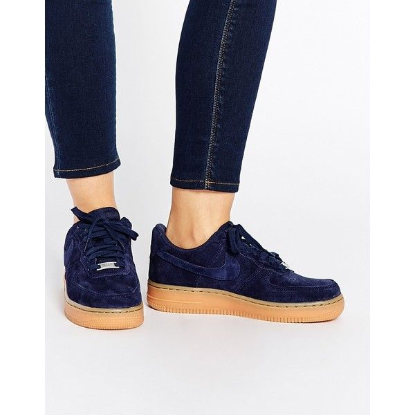 Nike Air Force 1 07 Suede Navy Trainers (£76) ❤ liked on Polyvore