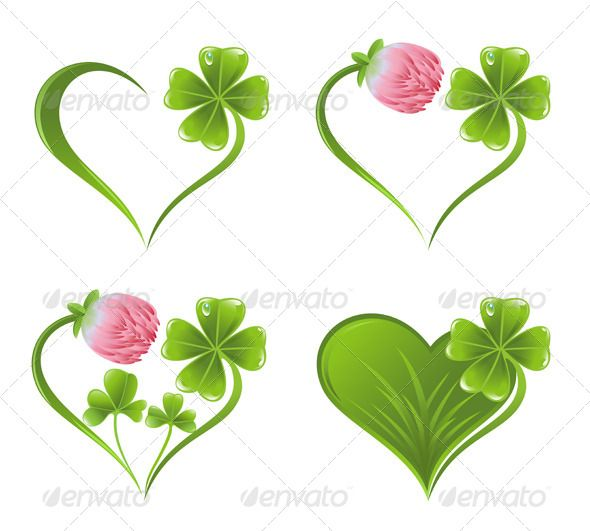 shamrock leaf | Set of Heart Icons with Clover Leaf and Blossom - Flowers & Plants ...