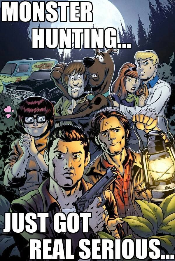 monster hunting ... just got real serious ... LOL #Supernatural || Scooby Doo #Dean #Sam