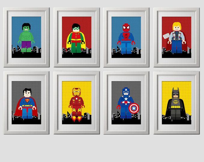 Lego Superhero Wall Art Superhero Posters Bedroom by EniPixels