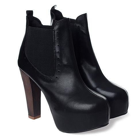 wholesale Ladies black boots thick heel platform elastic bank ankle shoes CZ-4233