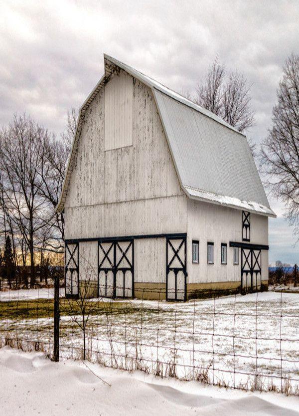 White barn in winter snow... I love this barn!
