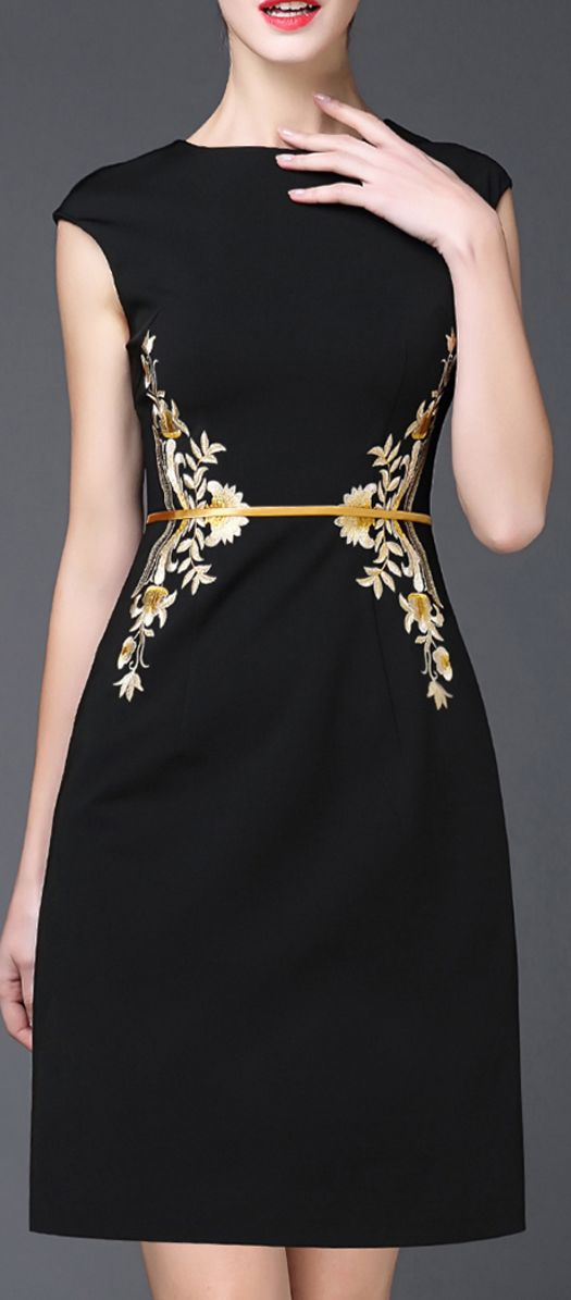 embroidered cap sleeve dress