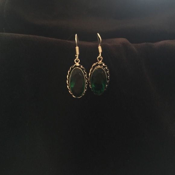"""Earrings.                                   """"NWOT"""" Oh, what a gorgeous pair of Genuine Green Topaz earrings set in an antique looking silver plated setting. These are a 1.5"""" dangle style earrings. They are new without tag & have never been worn. Don't like the price? Make a reasonable offer. No low balling. Jewelry Earrings"""