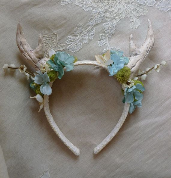 Antler Floral Headband... deer fawn woodland whimsical wedding fantasy fairy pixie bridal mori girl hair accessory flower girl photo prop