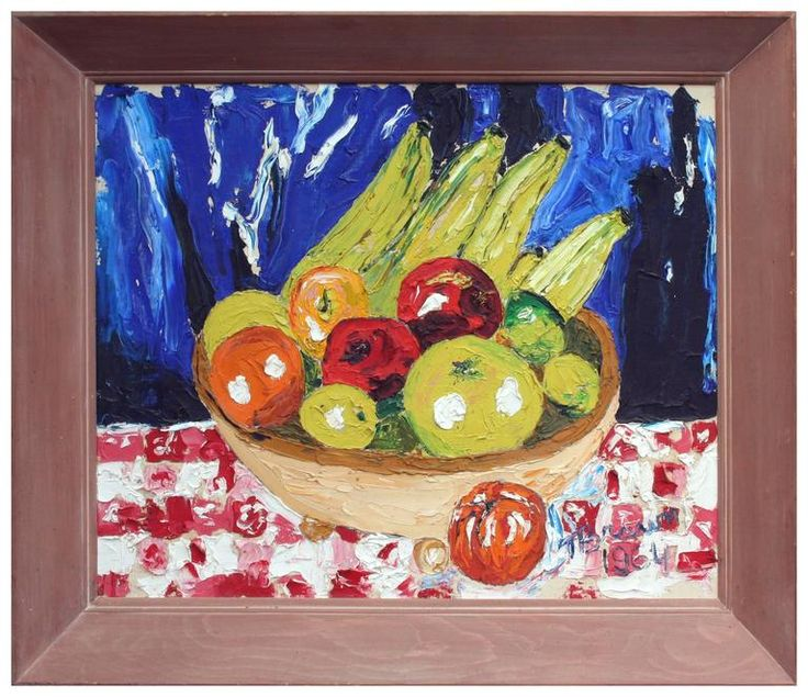 "Substantial and period modernist impasto still life of a basket of fruit upon a table by Monterey, California artist T. Brown. Signed ""T. Brown 1964"" lower right. Displayed in a wood frame. Image, 20""H x 24""L. Available on 1stdibs.com under Robert Azensky Fine Art."