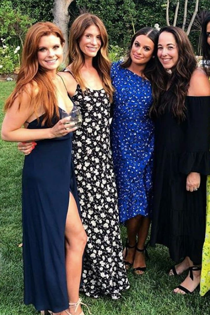 Lea Michele S Blue Engagement Party Dress Is Proof That The Bride S Not Bound To White In 2020 Engagement Party Dresses Party Dress Dresses