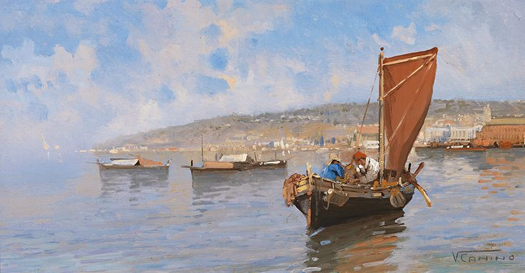 Vincenzo Canino. Naples 1892 - 1978. Worked in Naples and exhibited there. Sign. Southern landscape near Naples. View over the sea with fishing boats.