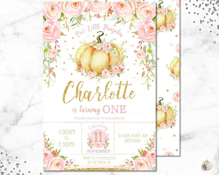 Little Pumpkin Invitation, 1st Birthday Party, One, First, Thank You, Watercolor Floral, Flowers, Pink, Gold, Pastel, Chic, Printable by TheHappyCatStudio on Etsy