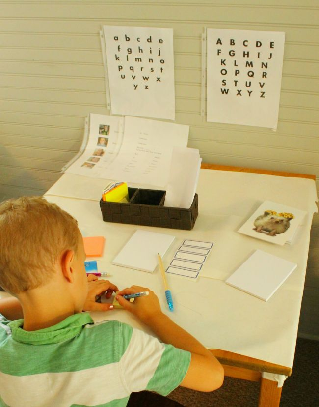 A writing table is a fun way to encourage kids to print and write! This is what to include in your writing table.