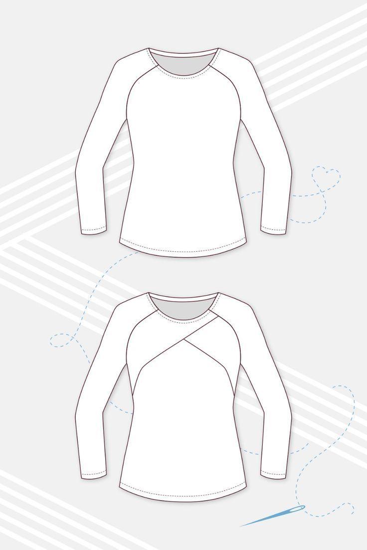 Schnittmuster Damen Raglanshirt technische Zeichnung – #Damen #Raglanshirt #Schn