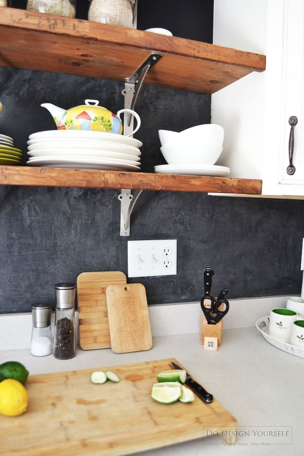 marmorino hydro plaster backsplash. Black kitchen backsplash and industrial open shelves