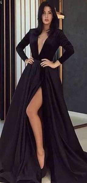 99bd91c041 Long Sleeves V-neck Black Long A-line Prom Dresses