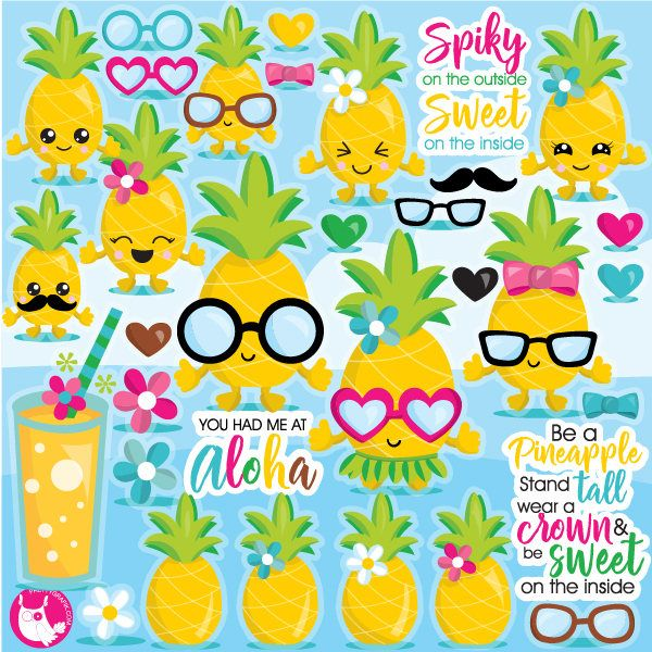 80% OFF SALE Pineapple clipart commercial use, pineapple vector graphics, pineapples digital clip art, digital images - CL1084 by Prettygrafikdesign on Etsy