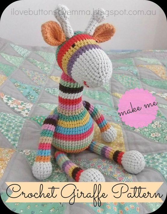 Free Pattern ~I Love Buttons By Emma: Crochet Giraffe Pattern