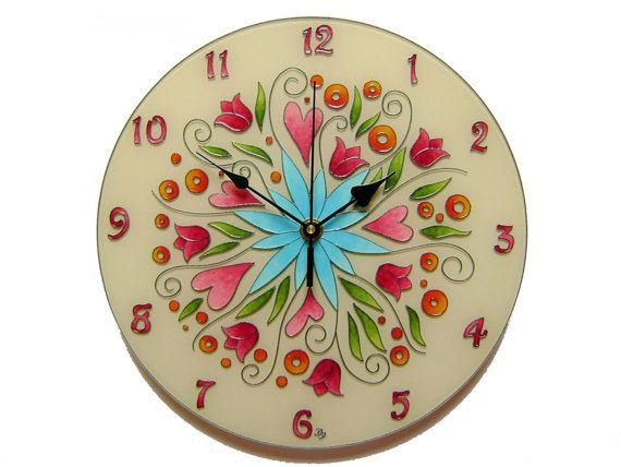 Silent Wall Clock With Flowers,  Floral clock, Glass paiting, Unique glass clock, Wintage, floral wall decor Gift for Mother