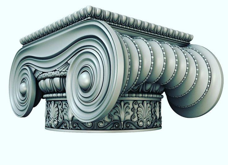 Ionisches Holzkapitell für dekorative Säulen und Innenarchitektur.
