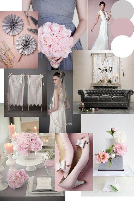 Dusky Pink & Grey Wedding Styling Moodboard to match a bespoke stationery design