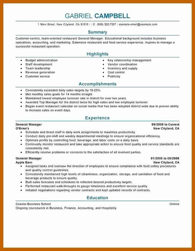 Restaurant General Manager Resumes Lovely 3 4 Restaurant Manager Resume Examples Job Resume Examples Good Resume Examples Manager Resume
