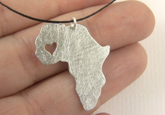 Mali pendant - map of Africa Necklace - Africa pendant  Adoption necklace - Collar áfrica Mali via Etsy