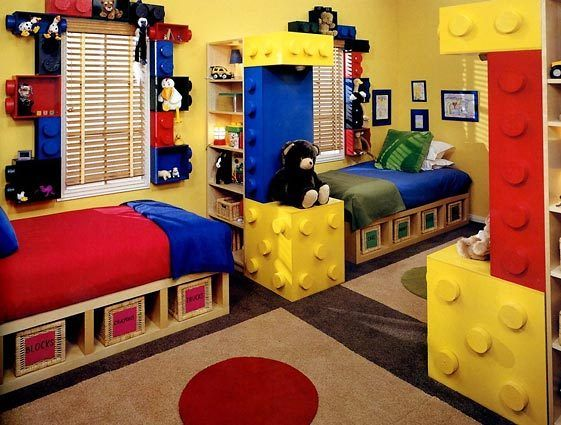LEGO bedroom, this is a great idea and uses IKEA furniture and some creativity with paint and wood... i really like how the room separates and love the boxes around the windows