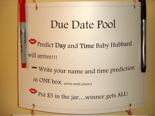 due date pool, except baby gets the money, winner gets a gift card
