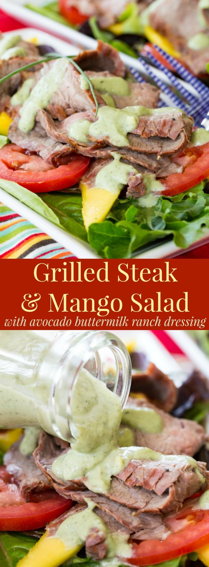 Grilled Steak Mango Salad with Avocado Buttermilk Ranch Dressing - add beef to your salads for a hearty, healthy, and satisfying summer meal. #BeefUpYourSalad with #BestBeef @certangusbeef #ad