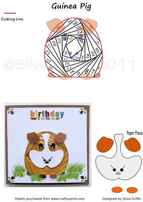 Guinea Pig on Craftsuprint designed by Silvia Griffin - Very popular pet for all your kids and grand kids. Easy cutting will make this a quick card to make . Thanks for looking at my creations. - Now available for download!