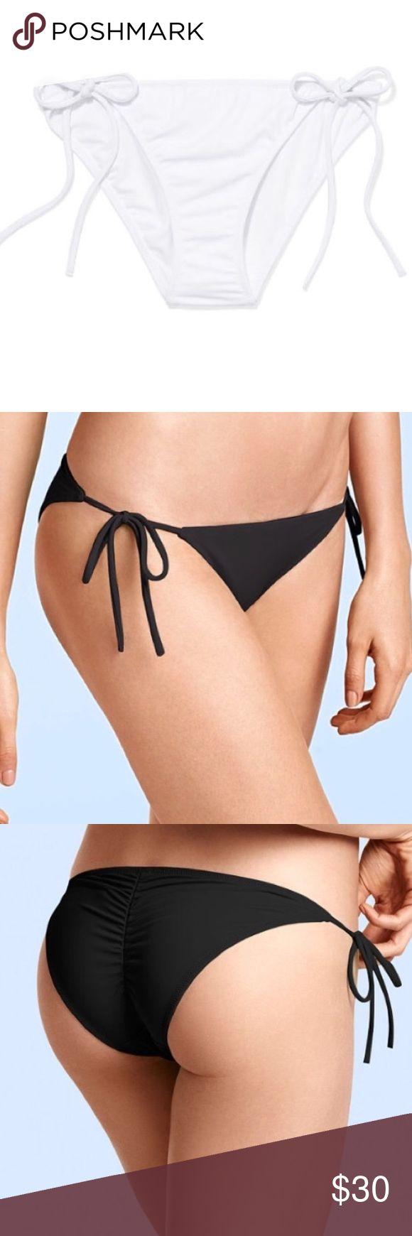NEW Victoria's Secret the teeny bikini bottom New with tags in packaging. Victoria's Secret the teeny bikini bottom in white. Modeled in black. Tie sides. Scrunch bottom. Size large. Victoria's Secret Swim Bikinis