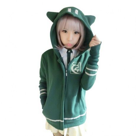 Dangan Ronpa zip up hoodies for women green cosplay costumes