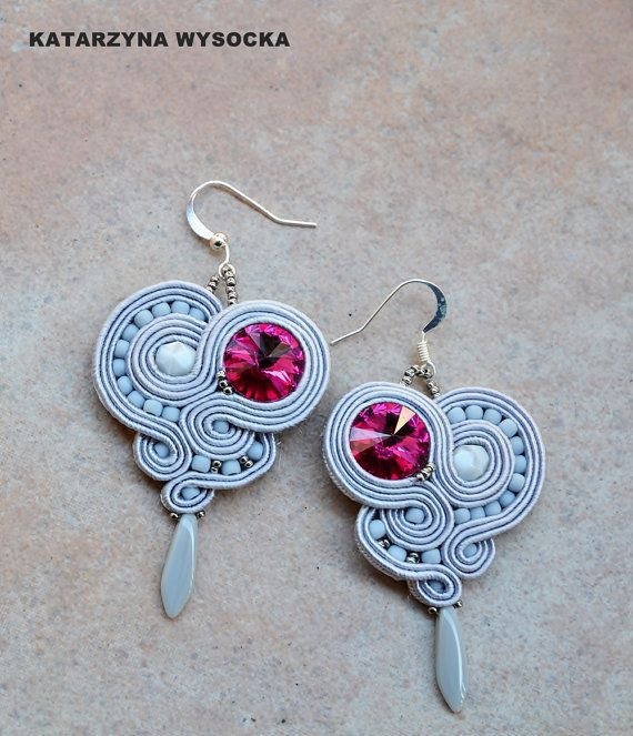 Hot Pink Stone  grey and fuchsia fancy light by AtelierMagia