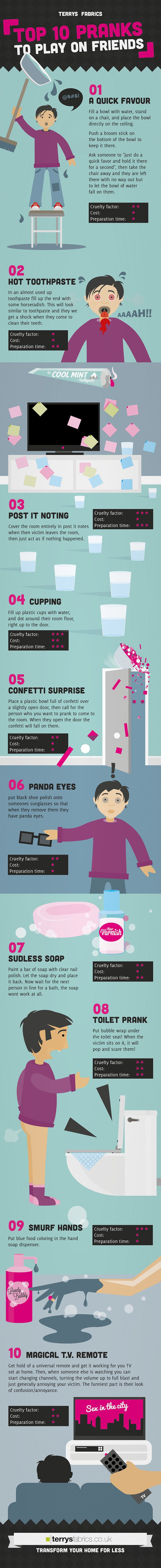 Artwork by David Wildish - Top Ten pranks to play on friends is an illustrated infographic  featuring some cruel, fun and silly pranks to pull on frie