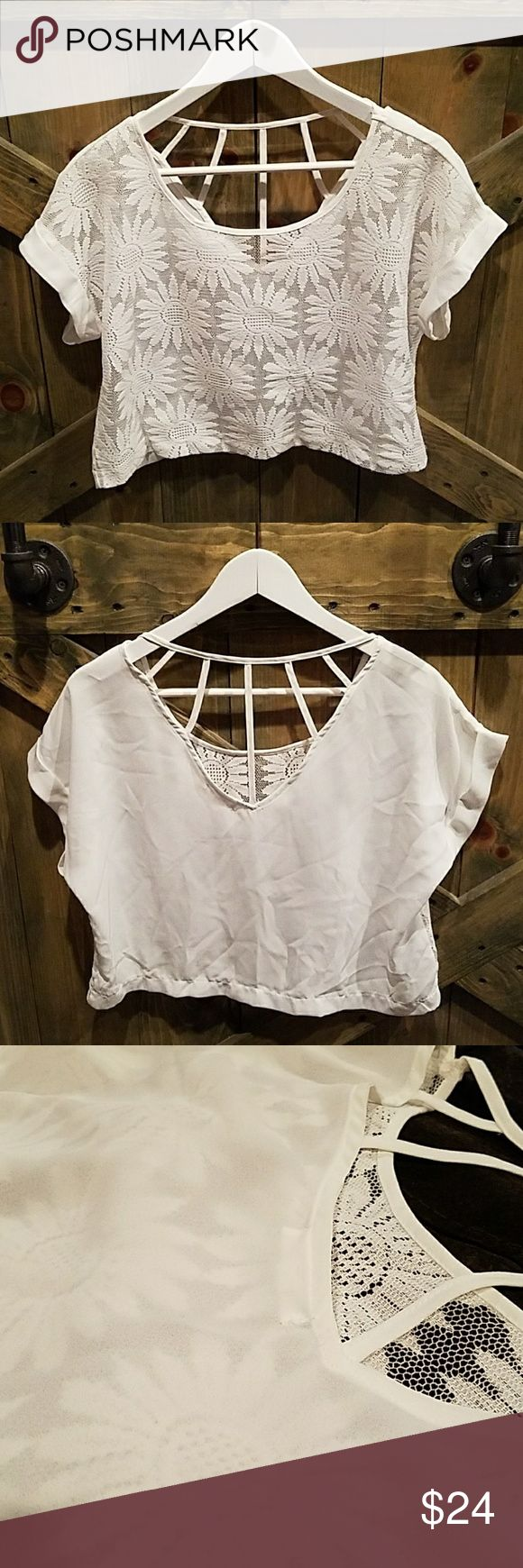 Daisy Cream Crop Top Too cute half top in cream with lace from, is see thru, great for layering, no rips or stains or snags Mine Tops Crop Tops