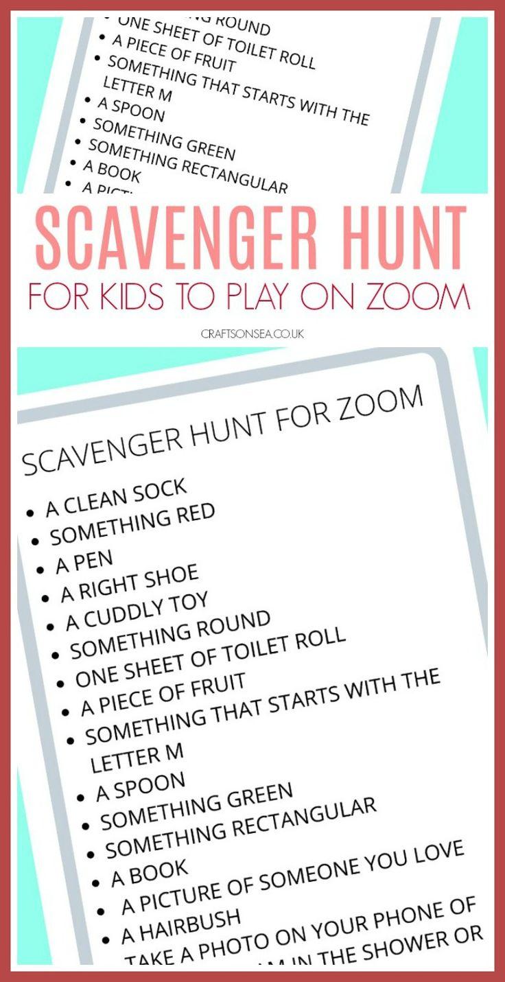 Scavenger Hunt for Zoom (FREE Printable for Kids) in 2020