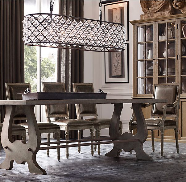 "RH's Spencer Rectangular Chandelier 61"":An inspired design from the British workshop of Timothy Oulton, our Spencer lighting collection's crystal glass spheres hang like gems within its iron grid."