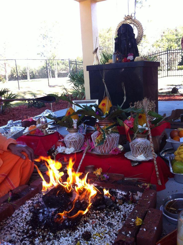 Navagraha Shani Temple Fort Myers, Florida: Lord Agni- the Fire God Agni is invoked on Shani Puja
