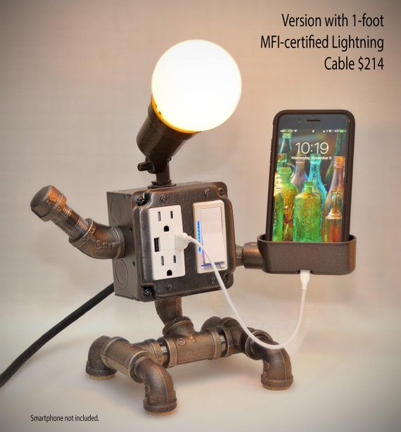 Robot Steampunk Industrial Pipe Desk Lamp with Dimmer, 2 AC & 2 USB outlets, Smartphone Charging Cradle, optional Apple Watch Charger AirBnB