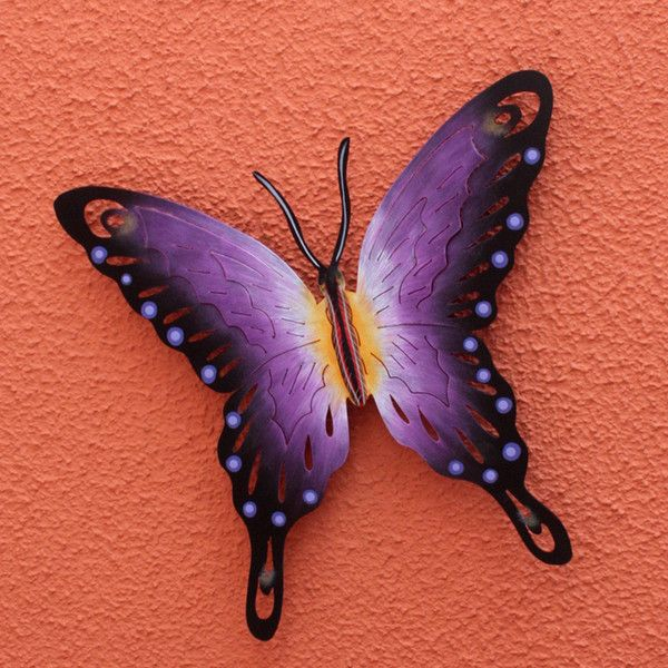 NOVICA Hand Made Purple Butterfly Steel Wall Sculpture Mexico ($49) ❤ liked on Polyvore featuring home, home decor, purple, wall accents, wall decor, steel sculpture, mexican home decor, butterfly sculpture, handmade home decor and butterfly home decor