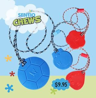What ARE SentioCHEWS? ◘Newest Chewable Pendants ◘Durable for ACTIVE chewers! ◘Tough & Economical at $9.95 each ◘Made in Canada with FDA approved materials ◘CE marked for EU countries ♥Cute, Colorful, Chew Necklaces! Buy online: www.kidcompanions.com