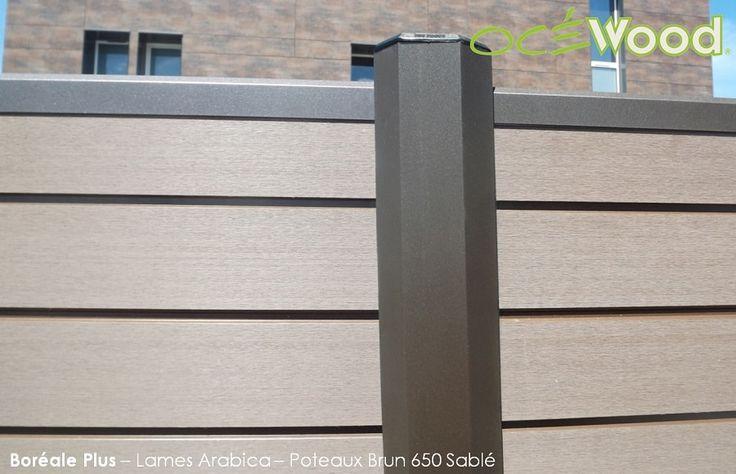 Poteau aluminium Brun et lames composites Océwood®