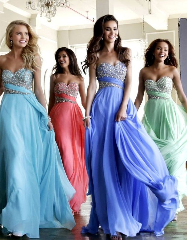 gorgeous strapless beaded chiffon prom dresses <3 sky blue, coral pink, mint green beaded gowns
